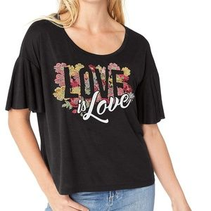 Jessica Simpson Love Floral Knit Tee Shirt Black M